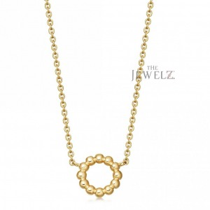 14K Solid Gold Beaded Circle Charm Minimalist Pendant Necklace Fine Jewelry