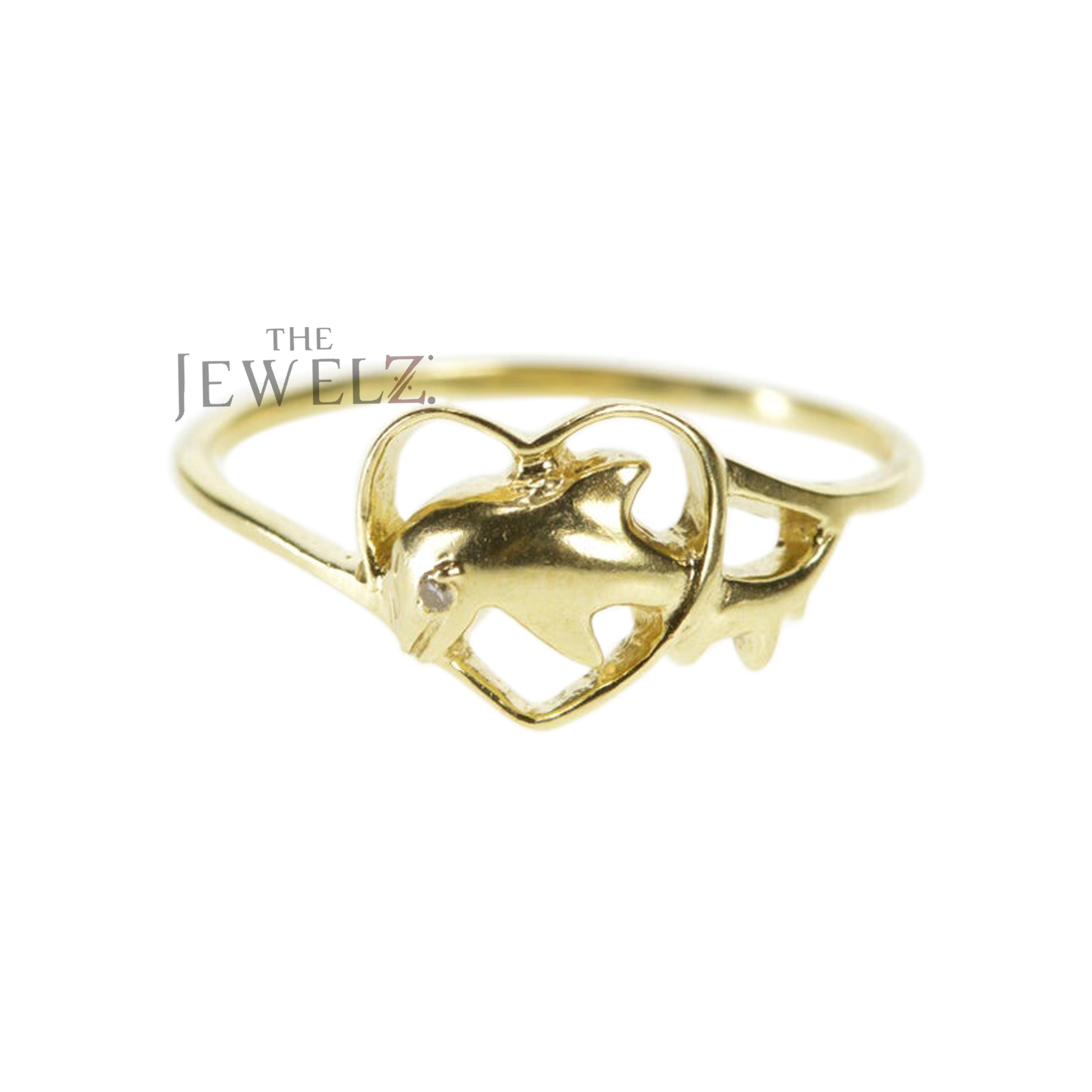 14K Gold 0.01 Ct. Genuine Diamond Dolphin in Heart Ring Fine Jewelry Size-3 to 8