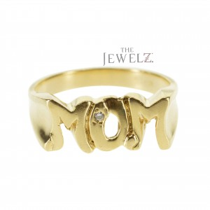 14K Gold 0.01 Ct. Genuine MOM Charm Ring Mother's Day Gift Fine Jewelry