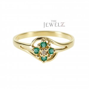 14K Gold Genuine Diamond And Emerald Gemstone Floral Cluster Ring Fine Jewelry