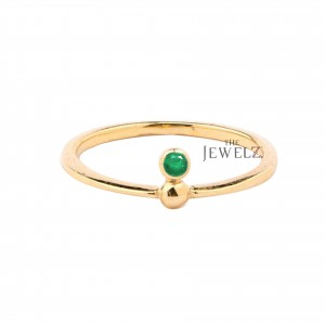 14K Gold 0.10 Ct. Genuine Emerald May Birthstone Ring Fine Jewelry Size-3 to 8US