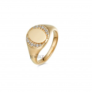 14K Gold 0.10Ct. Genuine Diamond Personalized Engraving Signet Ring Fine Jewelry