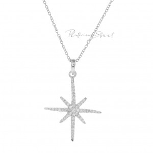 950 Platinum 0.35 Ct. Genuine Diamond Starburst Pendant Necklace Fine Jewelry