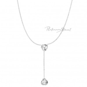 950 Platinum Shiny Diamond Cut Love knot Drop Lariat Mother's Day Necklace