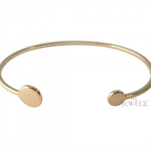 14K Solid Gold Double Solid Disc Handmade Cuff Bangle Bracelet Fine Jewelry