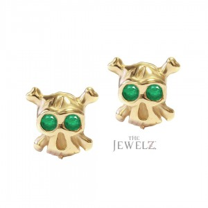 14K Gold Skull Halloween Studs Earrings Available in Ruby Emerald Blue Sapphire
