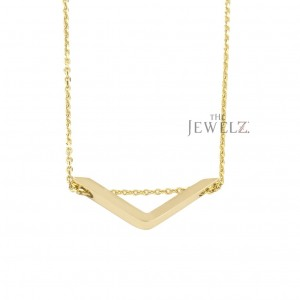 14K Solid Gold Angel Bar Charm Vintage Style Pendant Necklace Fine Jewelry