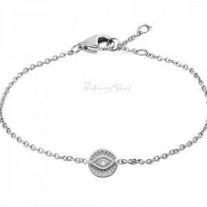 950 Platinum 0.01 Ct. Genuine Diamond Evil Eye Disc Charm Bracelet Fine Jewelry