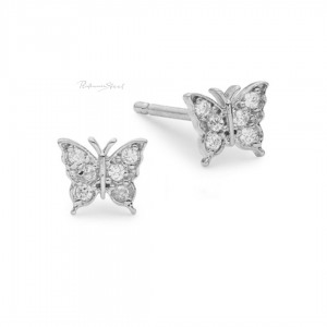 950 Platinum 0.18 Ct. Genuine Diamond Butterfly Studs Earrings Fine Jewelry
