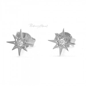 950 Platinum 0.04 Ct. Genuine Diamond Mini Starburst Studs Earrings Fine Jewelry
