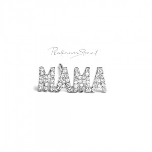 950 Platinum 0.28 Ct. Genuine Diamond MAMA Earrings Mother's Day Gift (1 Piece)