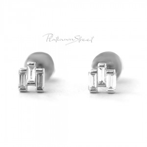950 Platinum 0.40 Ct. Genuine Three Baguette Diamond Mini Stud Earrings Jewelry