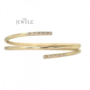 14K Gold 0.18 Ct. Genuine Flush Set Diamond Wrap Bangle Bracelet Fine Jewelry