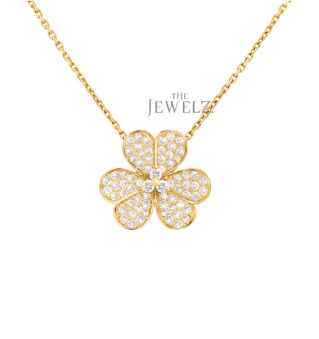 14k Gold 0 65 Ct Genuine Diamond Flower Design Pendant Necklace
