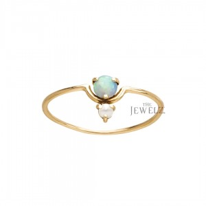14K Gold 0.3 Ct Genuine Pearl And Opal Gemstone Ring Fine Jewelry Size-3 to 9 US