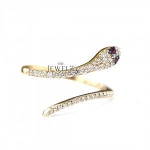 14K Gold Genuine Diamond Snake Ring  Available in Ruby Emerald and Blue Sapphire