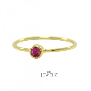 14K Gold 0.15Ct. Solitaire Genuine Ruby Gemstone Ring Fine Jewelry Size-3 to 8US