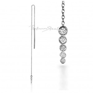 950 Platinum 0.38 Ct. Genuine Diamond Bar Drop Chain Threader Earrings Jewelry