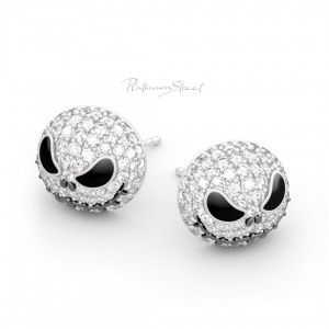 950 Platinum Genuine Diamond Pumpkin/Skull Studs Earrings Halloween Gift