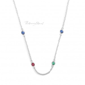 950 Platinum Genuine Ruby Emerald Blue Sapphire Gemstone Necklace Fine Jewelry