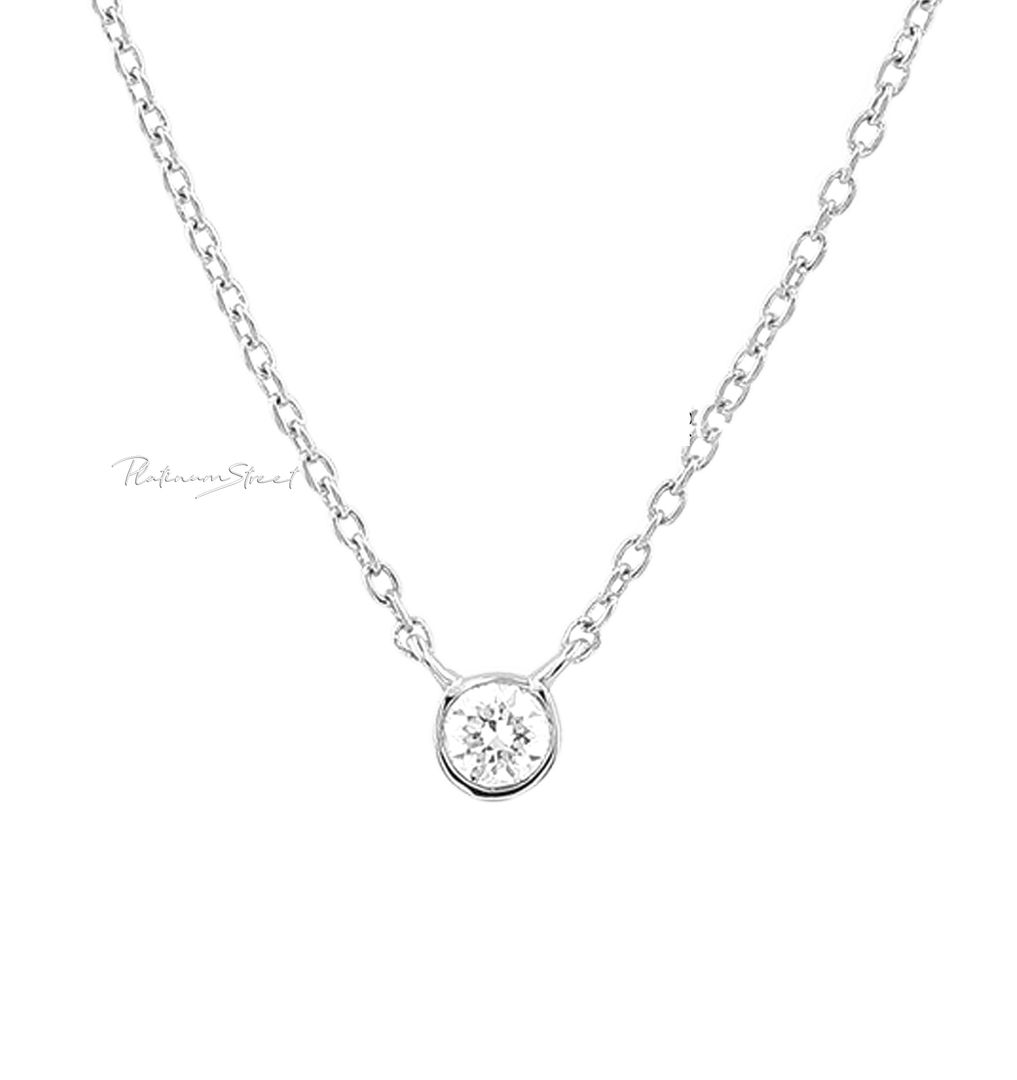 950 Platinum 0.11 Ct. Genuine Diamond Yard 18 Inch Chain Necklace Fine Jewelry
