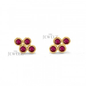 14K Gold 0.15 Ct. Genuine Ruby Gemstone Floral Earrings Fine Jewelry