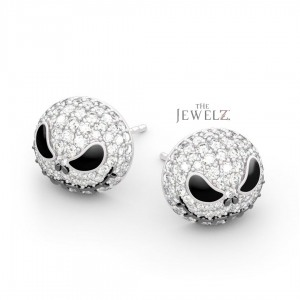 18K White Gold Genuine Diamond Pumpkin/Skull Studs Earrings Halloween Gift
