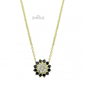 14K Gold Genuine White And Black Diamond Floral Charm Necklace Halloween Gift