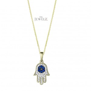14K Gold Genuine Diamond And Blue Sapphire Hamsa Charm Necklace Halloween Gift