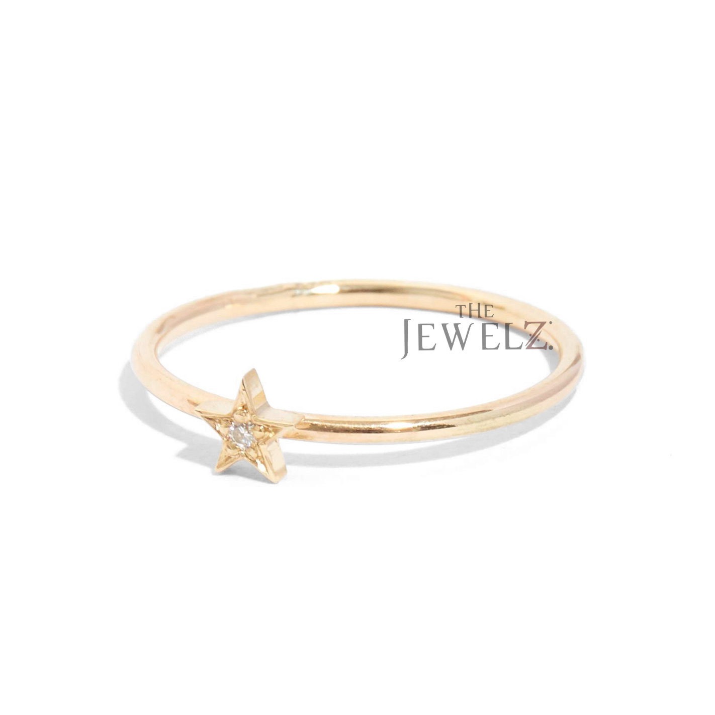 14K Gold 0.02 Ct Genuine Diamond Pave Star Ring Fine Jewelry Size - 3 to 9 US