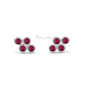 950 Platinum 0.15 Ct. Genuine Ruby Gemstone Floral Earrings Fine Jewelry