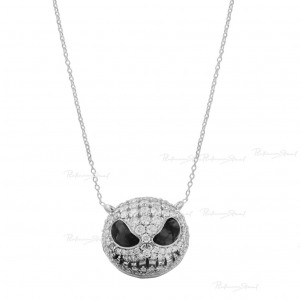 950 Platinum Genuine Diamond Pumpkin/Skull Charm Necklace Halloween Gift