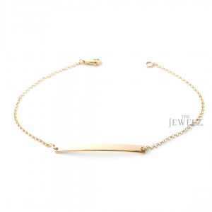 14K Solid Plain Gold Dainty Personalized Engraving Bar Bracelet Fine Jewelry