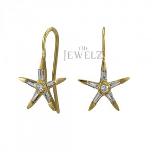 14K Gold Genuine Round And Tapered Baguette Diamond Star Hook Dangle Earrings