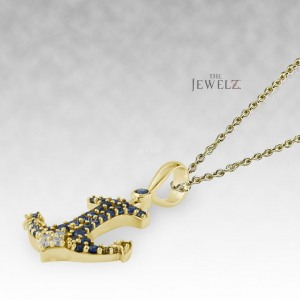 14K Gold Genuine Diamond And Blue Sapphire Anchor Charm Necklace Fine Jewelry