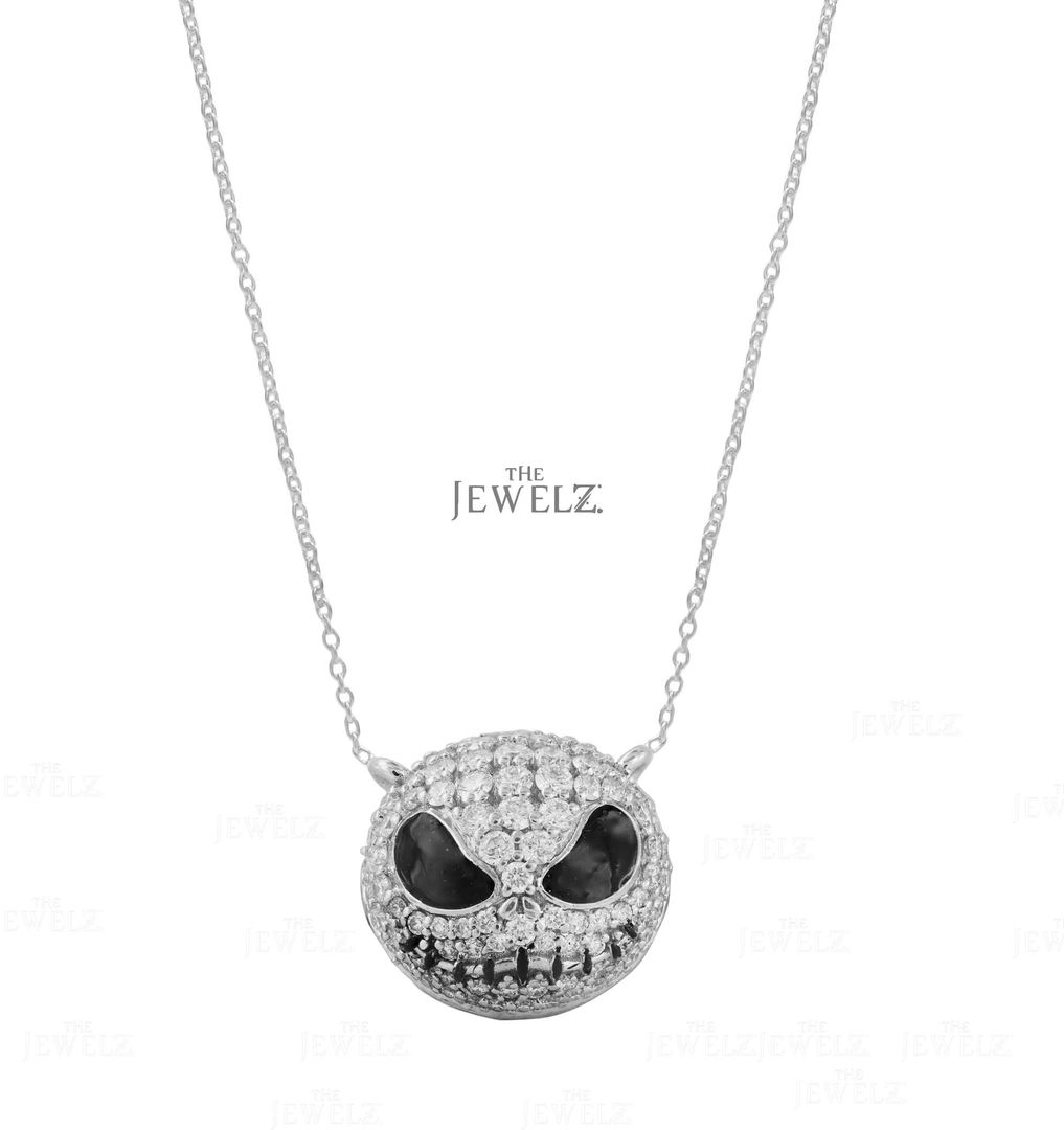 14K White Gold Genuine Diamond Pumpkin/Skull Charm Necklace Halloween Gift