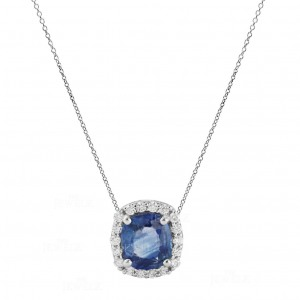 14K Gold Genuine Diamond And Cushion Blue Sapphire (1 Ct.) Pendant Necklace
