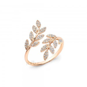 14K Gold 0.22 Ct. Genuine Diamond Feather Ring Fine Jewelry Size - 3 to 8 US