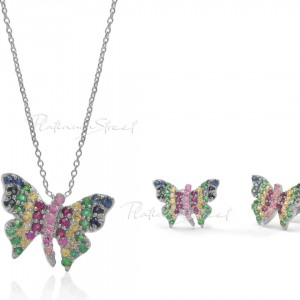 950 Platinum Genuine Multi Sapphire Butterfly Earrings Necklace Jewelry Set