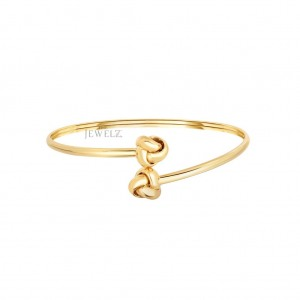 14K Solid Yellow Gold Shiny Double Love knot Tip Bypass  Christmas Gift Bangle
