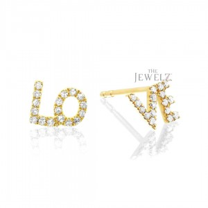 14K Gold 0.17 Ct. Genuine Diamond Love Studs Earrings Fine Jewelry