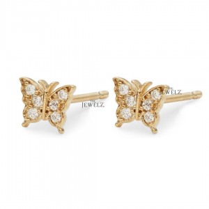 14K Gold 0.18 Ct. Genuine Diamond Butterfly Studs Earrings Fine Jewelry