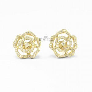 18K Gold 0.87 Ct. Genuine Diamond Flower Earrings Fine Jewelry-New Arrival