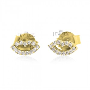 14K Gold 0.13 Ct. Genuine Diamond Lips Design Smile Studs Earrings Fine Jewelry