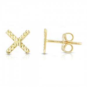 14K Yellow Gold 7.5 mm Diamond Cut X Studs Earring with Push Back Clasp