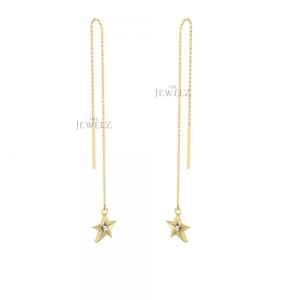 14K Gold 0.03 Ct. Genuine Diamond Star Shape Chain Threader Earring Fine Jewelry