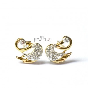 14K Gold 0.12 Ct. Genuine Diamond Swan Studs Earrings Fine Jewelry Gift For Her