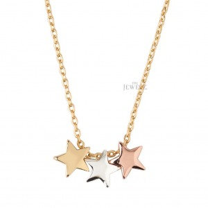 14K Solid Gold 3 Color (Rose/Yellow/White) Star Pendant Necklace Fine Jewelry