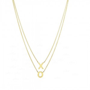 "14K Yellow Gold 17"" Shiny ""XO"" On Single Into Double Strand Oval Link Necklace"