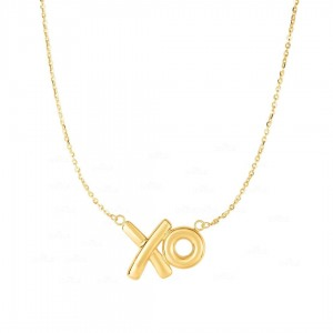 14K Yellow Gold 20x13mm Shiny XO Charm Necklace with 18'' Chain Fine Jewelry